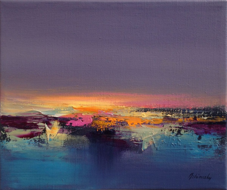 Bring me Light - 25 x 30 cm, abstract landscape oil painting in purple, blue and yellow - Image 0