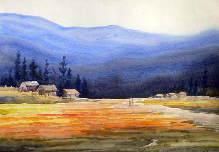 Flowers Valley & Mountain-Watercolor on Paper painting -