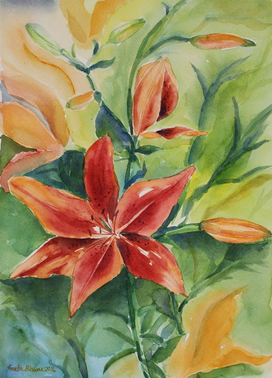 Tiger lily, watercolor, still life painting in impressionistic style - Image 0