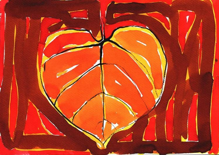 Red Linden Leaf Painting - Image 0