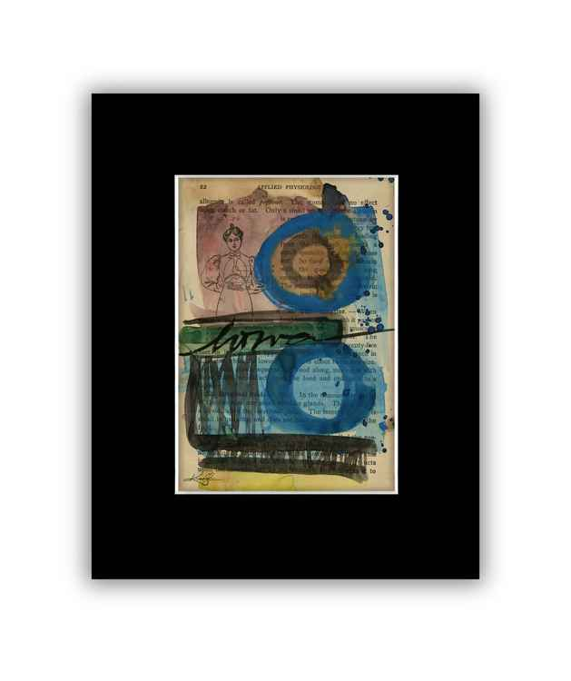 Abstract 7 on Antique Book Page - Abstract Watercolor Painting -