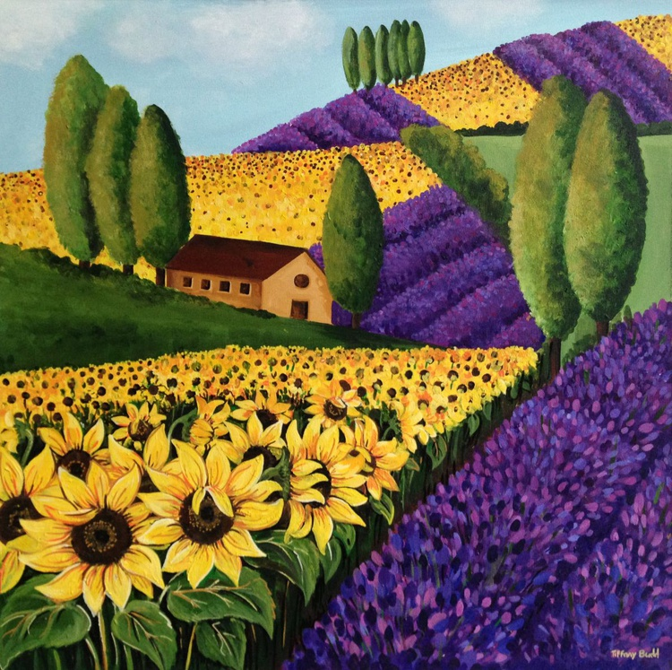 Sunflowers and Lavender. - Image 0