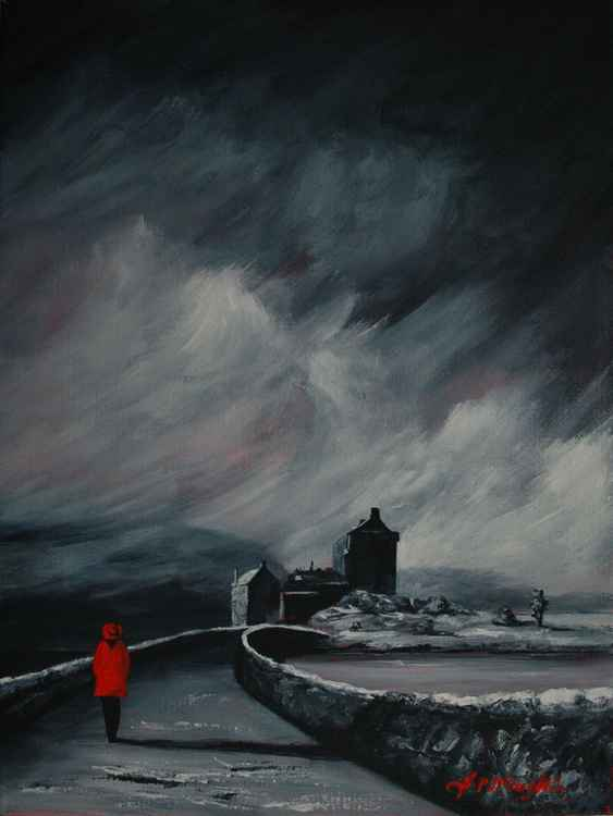 Eilean Donan girl in a Red coat -
