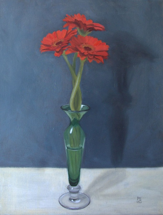 Red flowers and Vase - Image 0