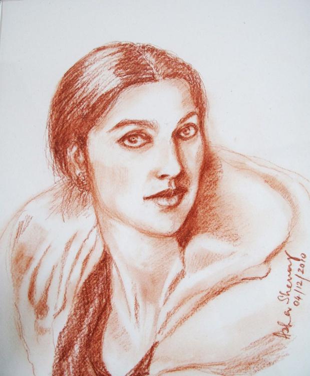Conte Sketch- Woman - Image 0