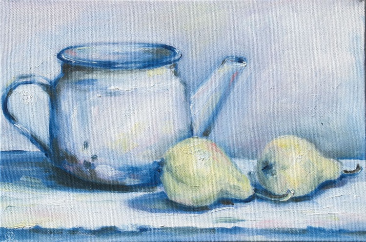 Old Kettle (20x30cm) original oil painting study from life still life impressionistic ready to hang canvas gift kitchen decor - Image 0
