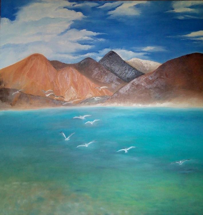 Pangong lake, ladakh,India, Large painting. - Image 0