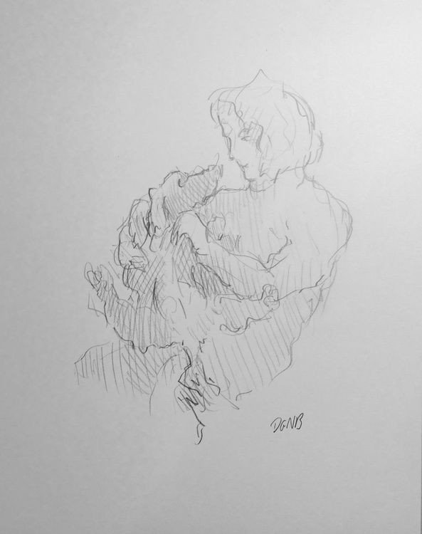 Sketch of Woman and Dog - Image 0