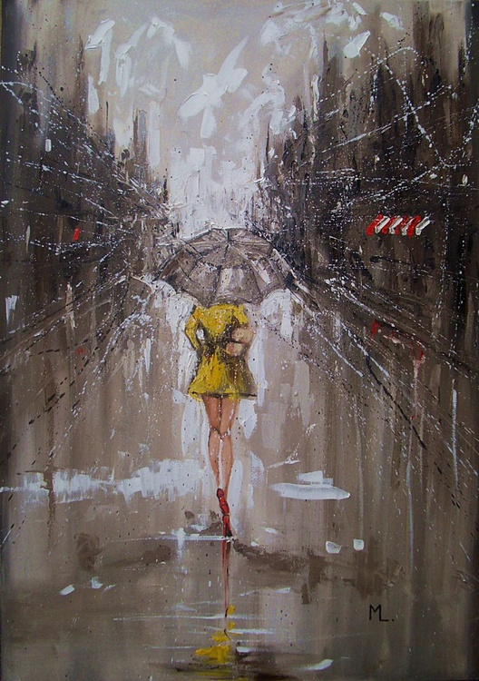 "COMMISSION FOR CONNIE 100x70cm LARGE FORMAT ""  RAINY STREET ... "" original painting CITY palette knife GIFT MODERN URBAN ART OFFICE ART DECOR HOME DECOR GIFT IDEA - Image 0"