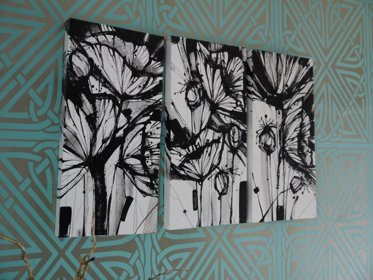 Black And White Poppies Triptych - Image 0