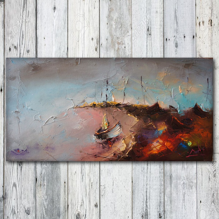 Marine landscape 2, Palette knife oil painting, free shipping - Image 0