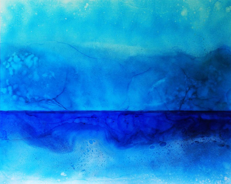 BIG BAY - Abstract Resin Seascape - Stunning Blues & Turquoise HUGE 120x100cm - Image 0