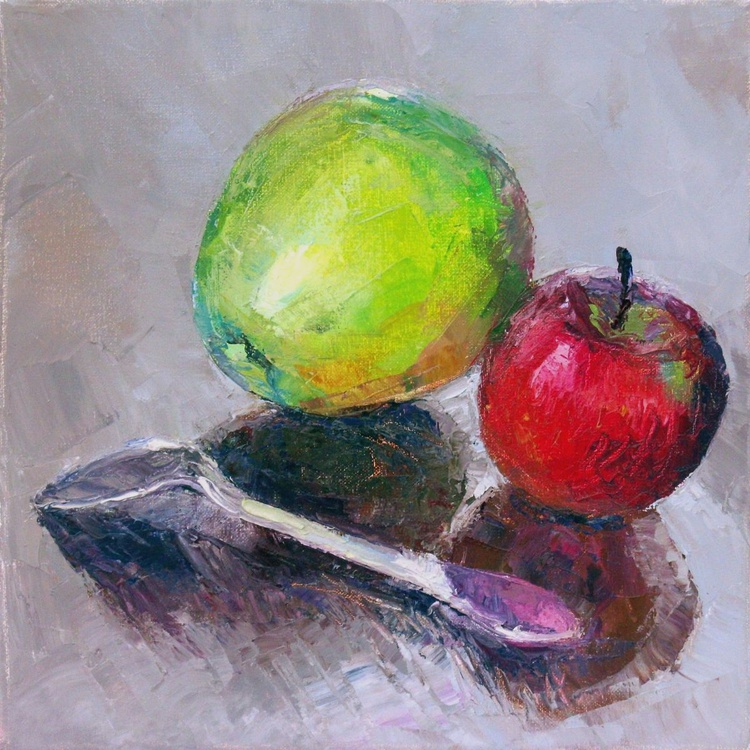 Apples and the Silver, (palette knife). - Image 0