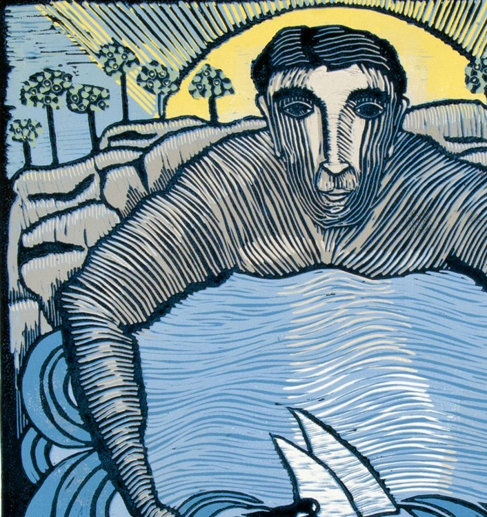 My Port in a Storm - a Love Letter , linocut reduction - Image 0