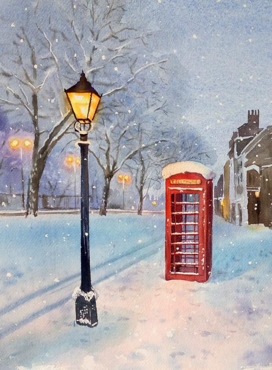 British Red Telephone Box in the Snow – Greater London - Image 0