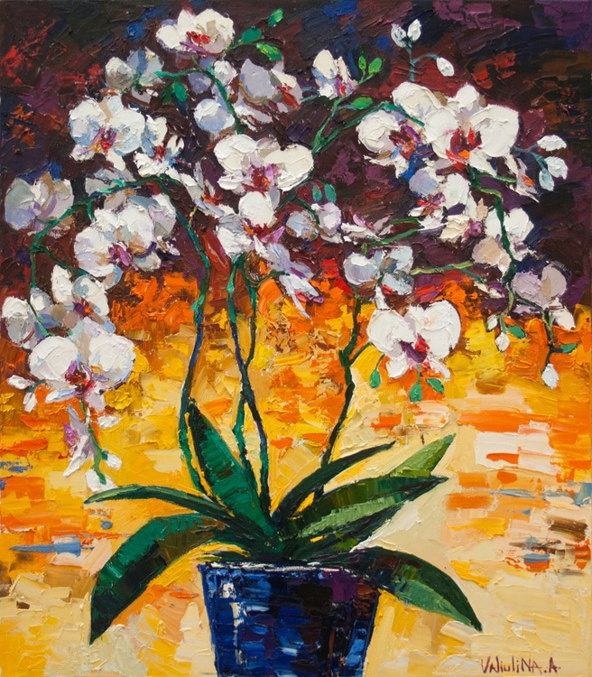 White orchid still life painting Original oil painting - Image 0