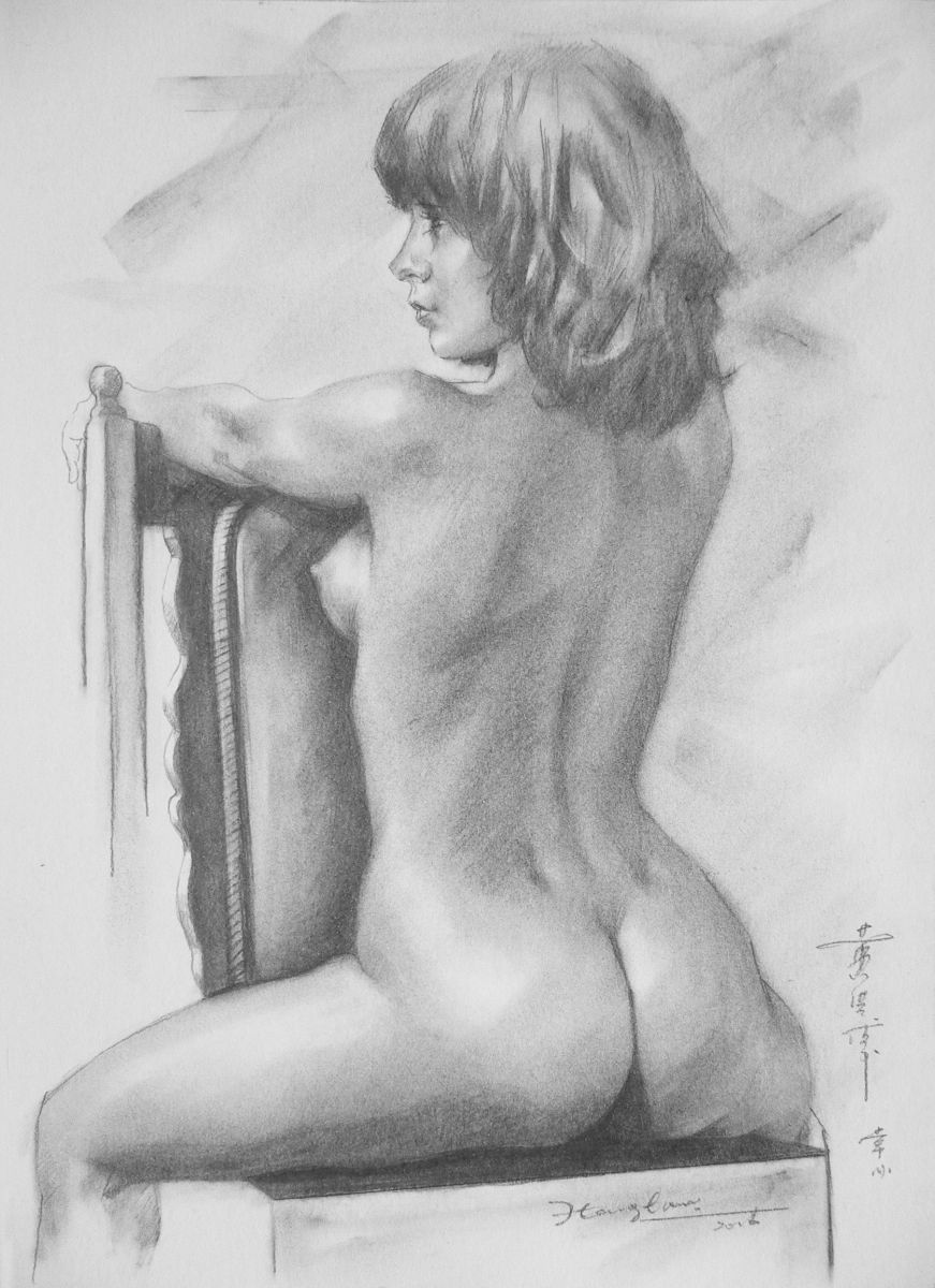 Original Art Pencil Drawing Sexy Naked Gril On Paper 16 -8589
