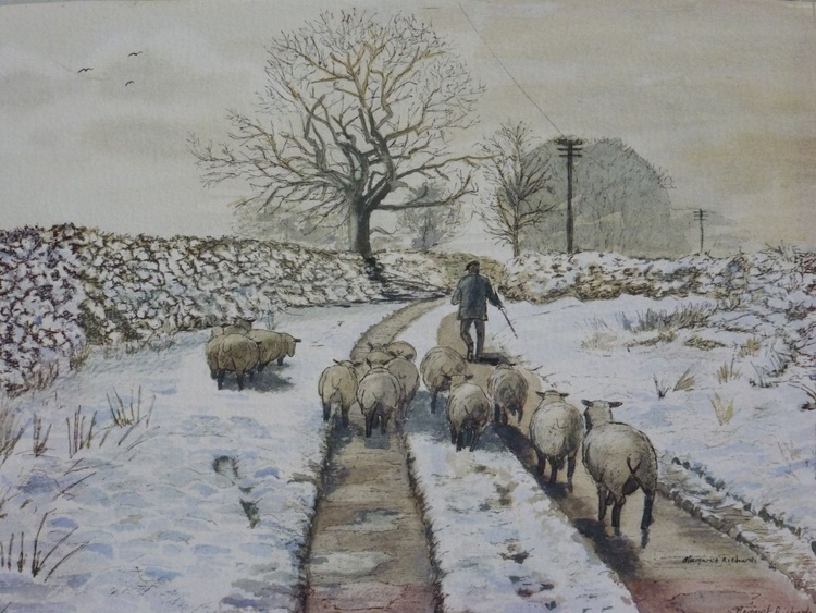 Shepherd in the snow - Image 0