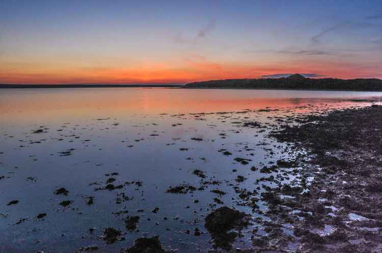 Late sunset Chesil Beach Dorset -