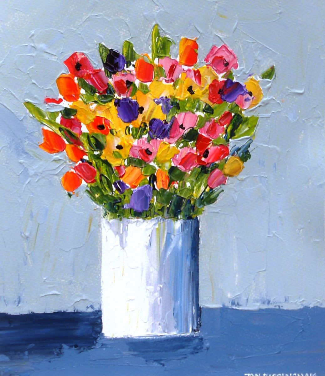 Spring Flowers In A Small White Vase 2016 Acrylic