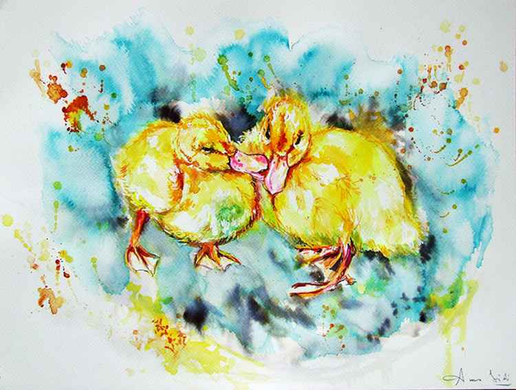 Yellow chicks/ Watercolour -