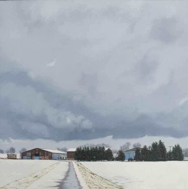 Farm Under Snow. -
