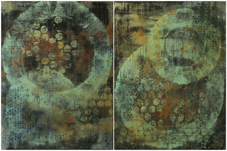 "WEATHERED & WORN - diptych, each piece 18"" x 24"" - Image 0"