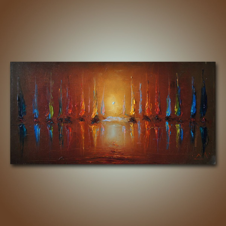 Sea charts 3, modern oil painting, free shipping - Image 0