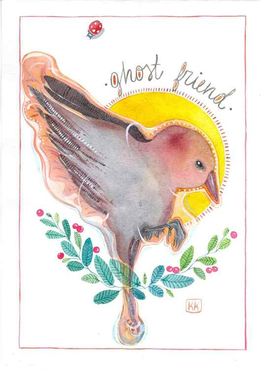 "Original postcard ""April Bird"" -"
