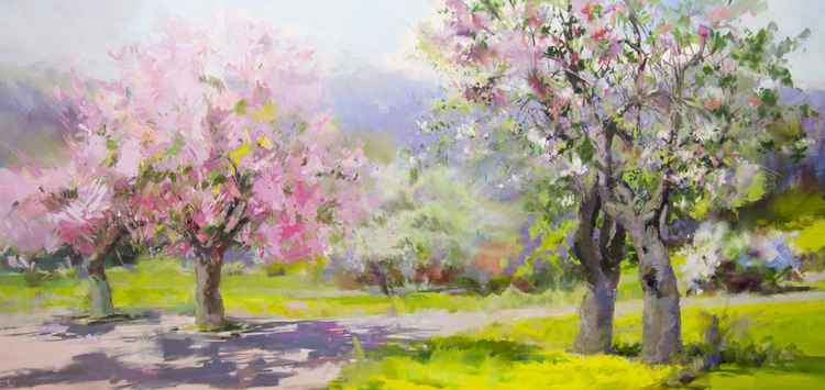 Oversized Landscape Painting - Spring Garden -