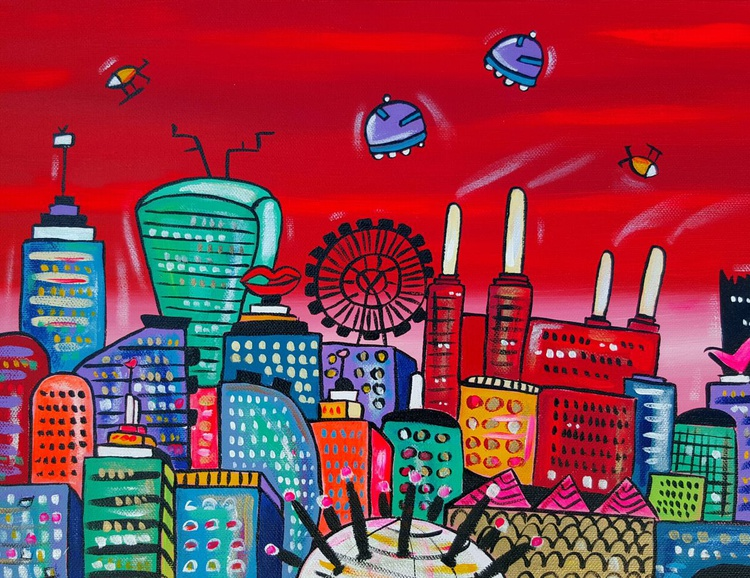Red Futuristic Power Station and London - Image 0