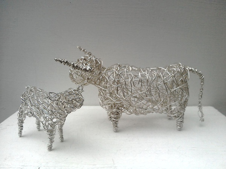 """""""Mother & Child"""" - Small Silver Cow & Calf - Image 0"""