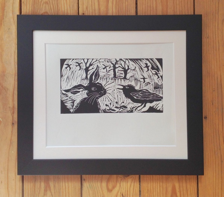 Hare and Crow: Tete-a-tete (charcoal grey), Limited Edition Linocut - Image 0