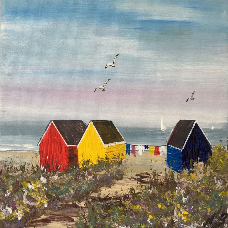 Three beach huts on the beach on a square canvas - Image 0