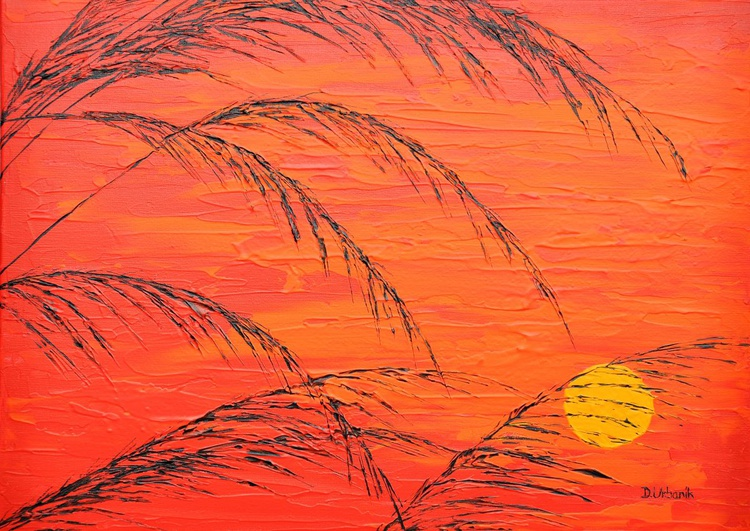 Red Sunset In The Grass - Image 0