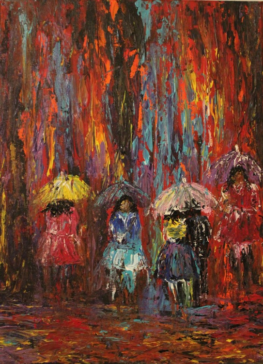 Blissful Rain, Impressionistic-Rainy Day Series, Ready to Hang Canvas Painting - Image 0