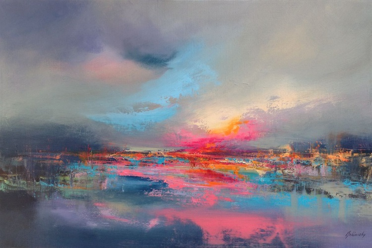 The Power of Last Lights - 60 x 90 cm abstract landscape oil painting in gray, pink and turquoise - Image 0