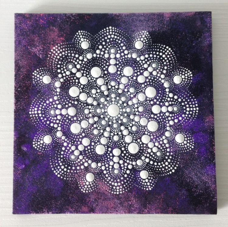White mandala in purple space Dotart Mandala Painting on Canvas 20x20 cm - Image 0