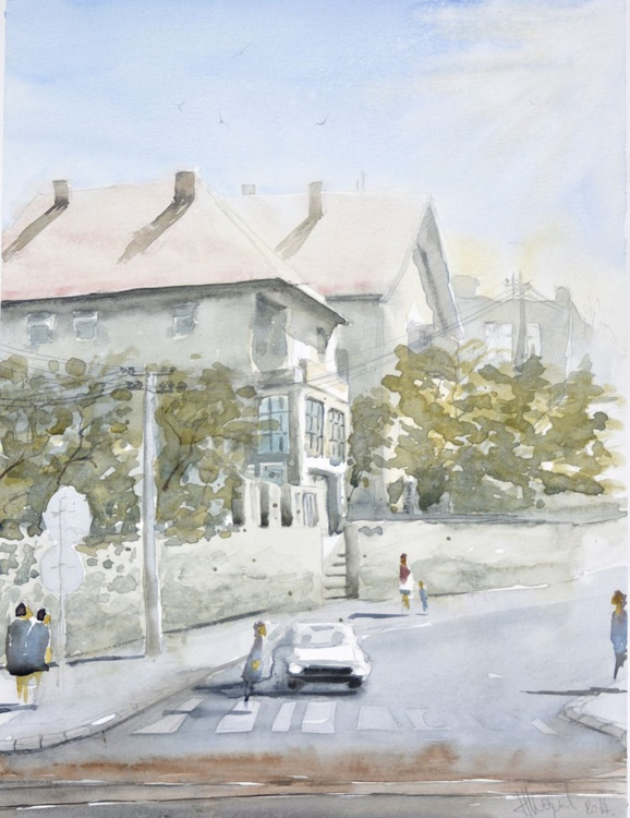 Trebevićka (street) - original watercolor landscape by Nenad Kojić - Image 0