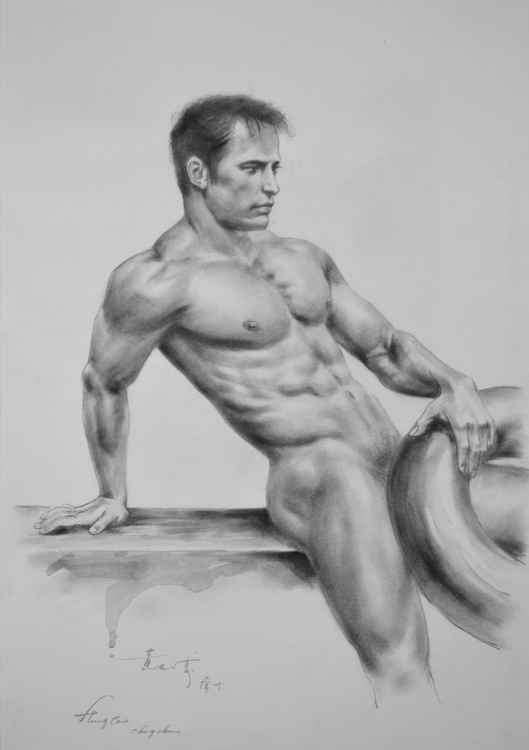 ORIGINAL DRAWING SKETCH CHARCOAL MALE NUDE  MEN GAY INTEREST ON PAPER#11-12-04 -