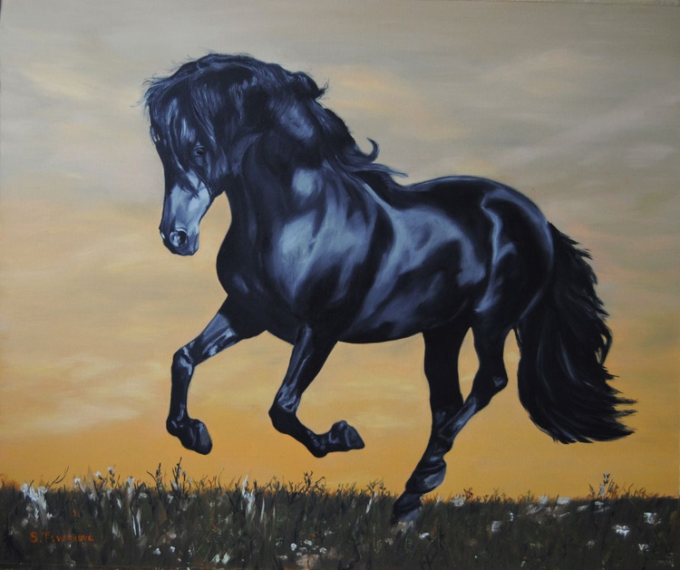 Running horse, Black horse painting, Canvas painting, Original oil, Animal art, certificate attached - Image 0