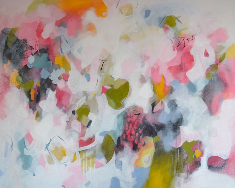 Transparent Dance - Large Original Pink, White and Blue Abstract Painting - Image 0