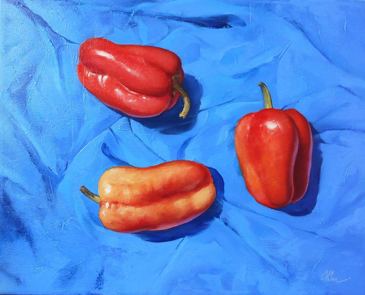 Bell Peppers/Still Life/Original oil on canvas/Free Shipping - Image 0