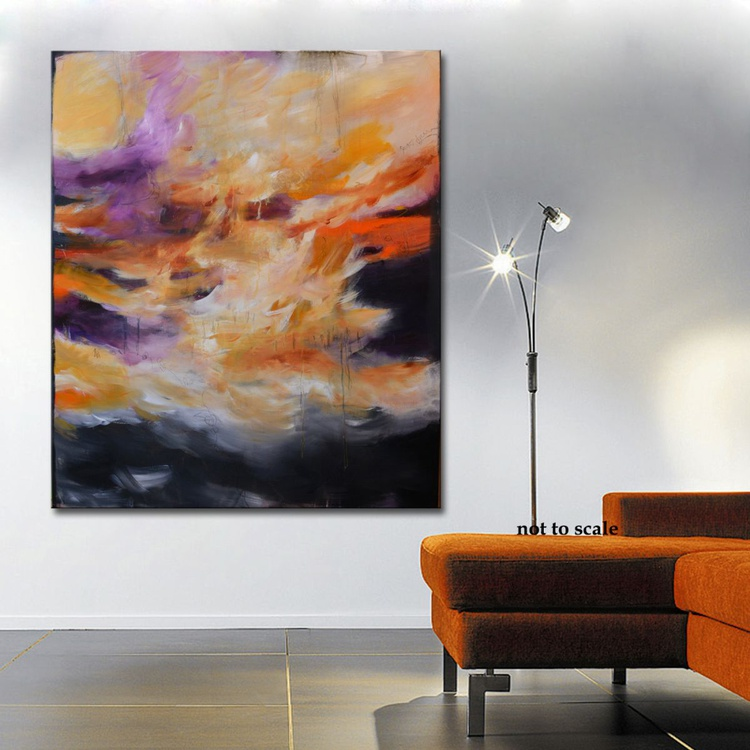 Everything is a matter of grace II- Original red and orange painting on canvas, abstract modern art - Image 0