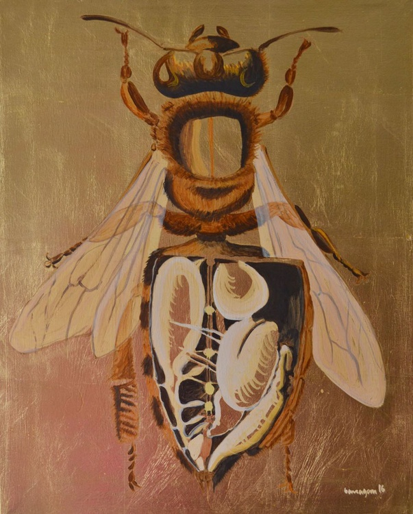 The Golden Bee Oil Painting on Lacquered Golden Leaf - Image 0