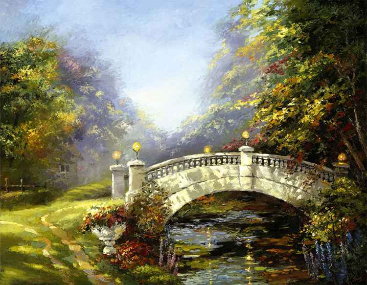 Bridge, painting by Dmitry Spiros, 90cm x 70cm -