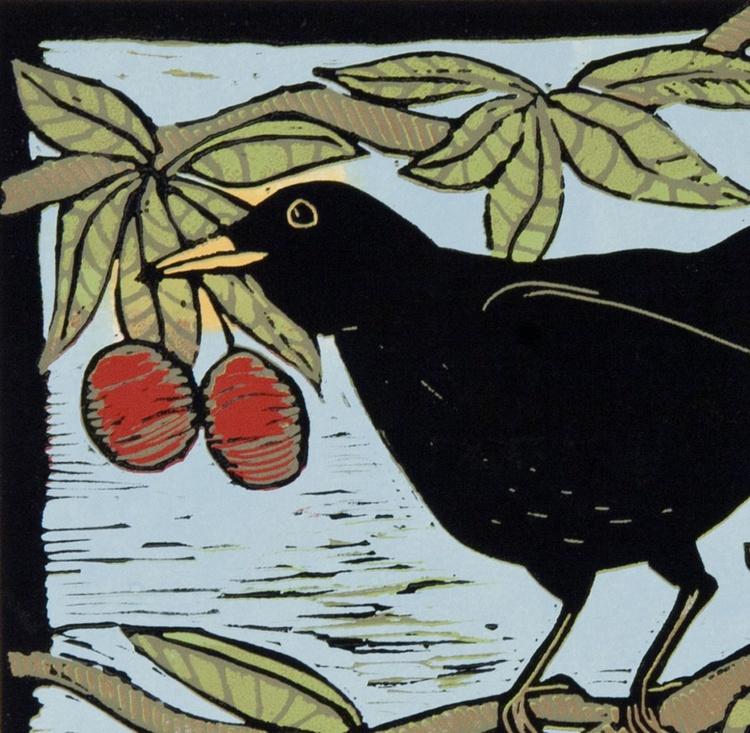 Blackbird in a Cherry tree, reduction linocut - Image 0