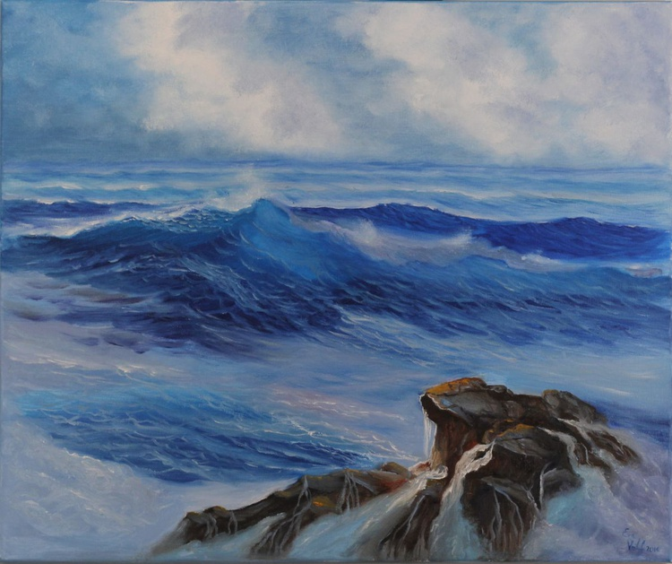 Miss You Already, Ocean Wave Painting, Seascape Oil Painting on Canvas, Turquoise Ocean Art, Realistic Seascape - Image 0