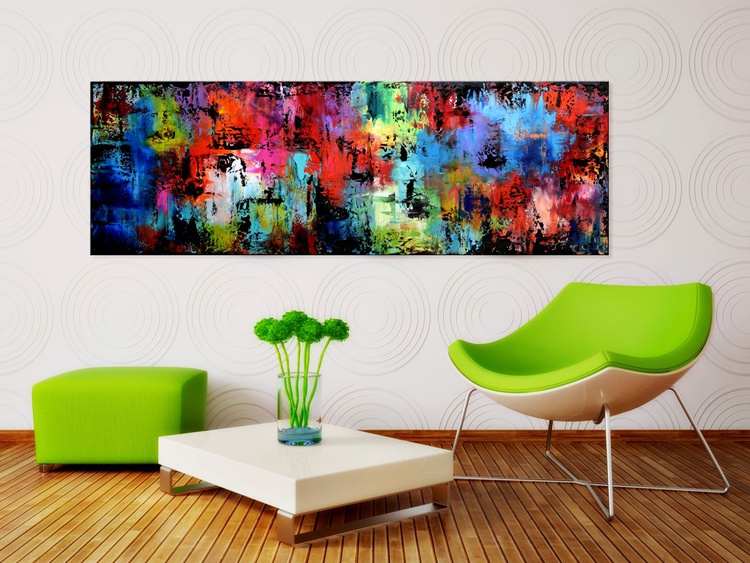 """Color Symphony #1-60"""" Large Abstract Painting, Original Large Colorful Modern Acrylic Palette Knife Painting on Canvas, red art, purple art, blue art - Image 0"""