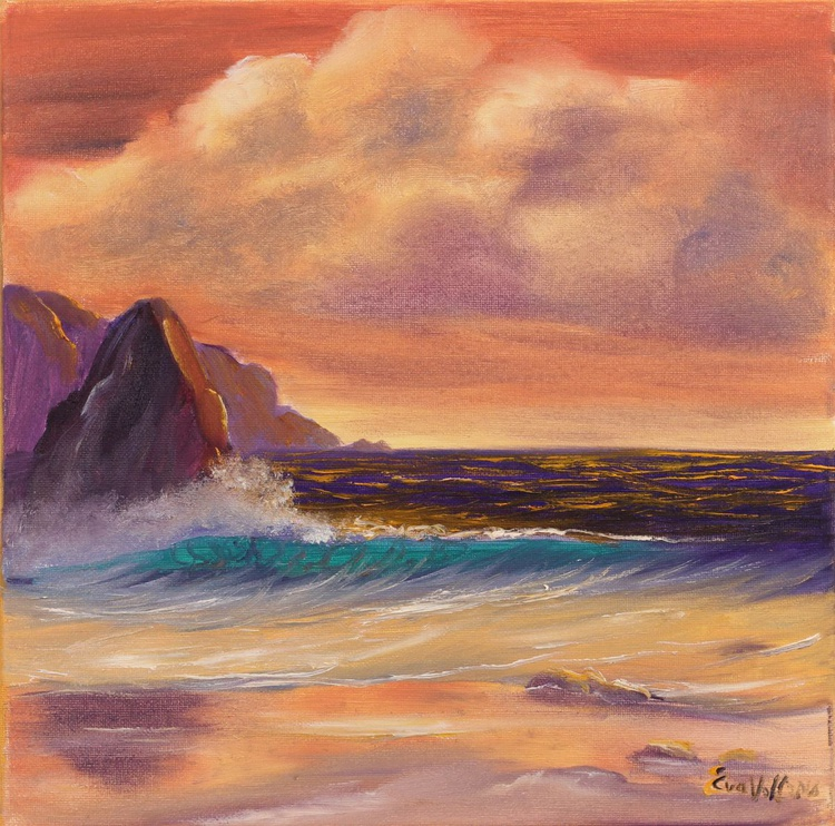 """Warm Evening by the Ocean original seascape painting on canvas, modern ocean art, sea wave painting, small oil painting 12x12"""" - Image 0"""